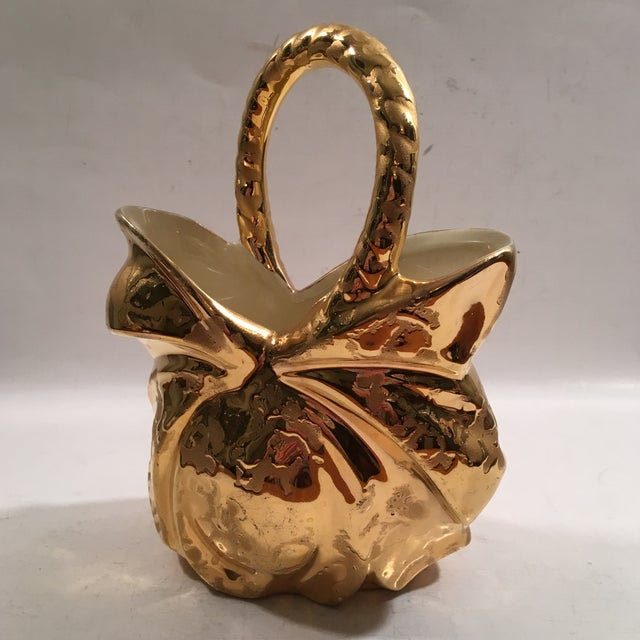 Image of Vintage Weeping Gold Ceramic Basket- 24 Kt