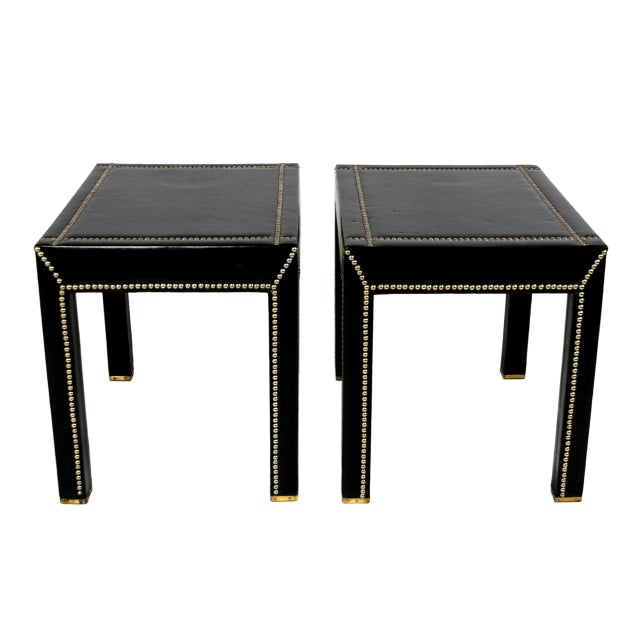 Italian Black Leather Studded End Tables - A Pair - Image 7 of 10