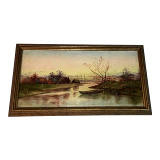 Small Antique Landscape Oil Painting