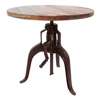 Industrial Iron & Wood Crank Table