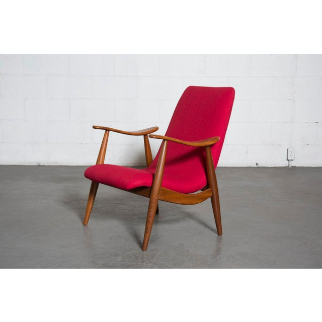 Mid-Century Magenta Upholstery Teak Lounge Chair - Image 2 of 10