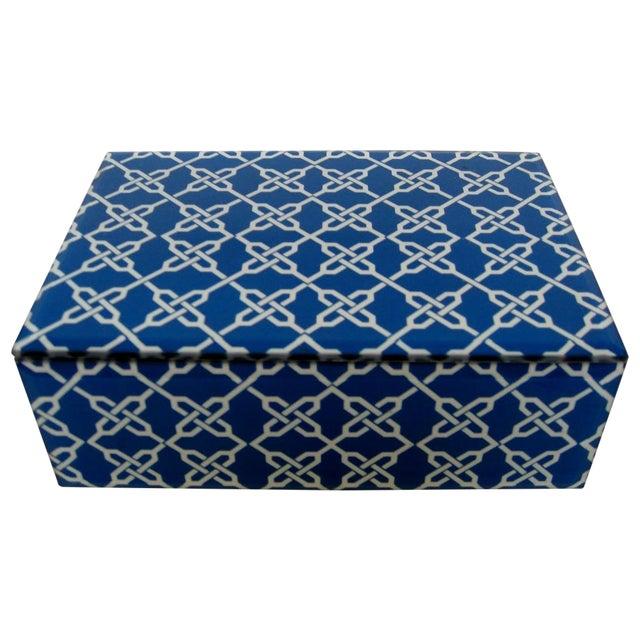 Blue & White Fabric & Glass Box - Image 1 of 5