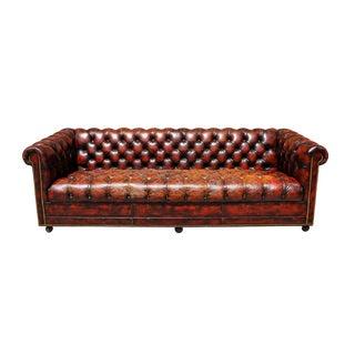 1940s Original English Oxblood Chesterfield Sofa