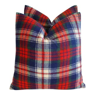 Scottish Plaid Wool & Velvet Down/Feather Pillows - Pair