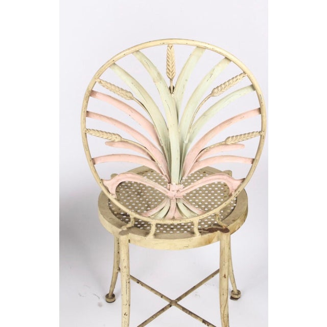 Vintage Wheat Themed Metal Chairs - a Pair - Image 8 of 9