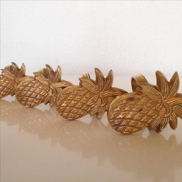 Vintage Brass Pineapple Napkin Rings - Set of 4 - Image 3 of 4