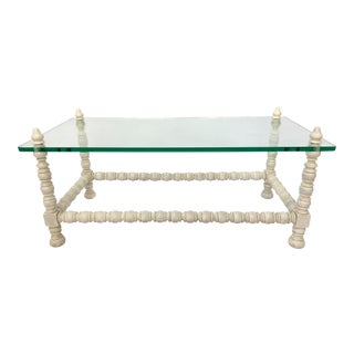 Hollywood Regency Wood & Glass Coffee Table