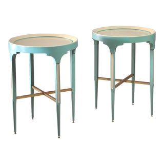 Pair of wood and brass side tables, Sweden, 1950s