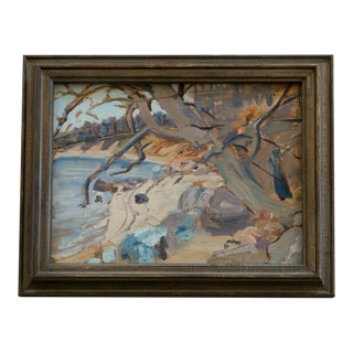 Abstract Vintage Landscape Oil Painting with Trees and Lake