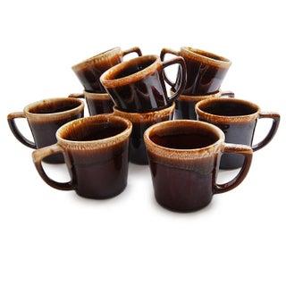 Vintage Brown Drip Glaze Coffee Mugs - Set of 10
