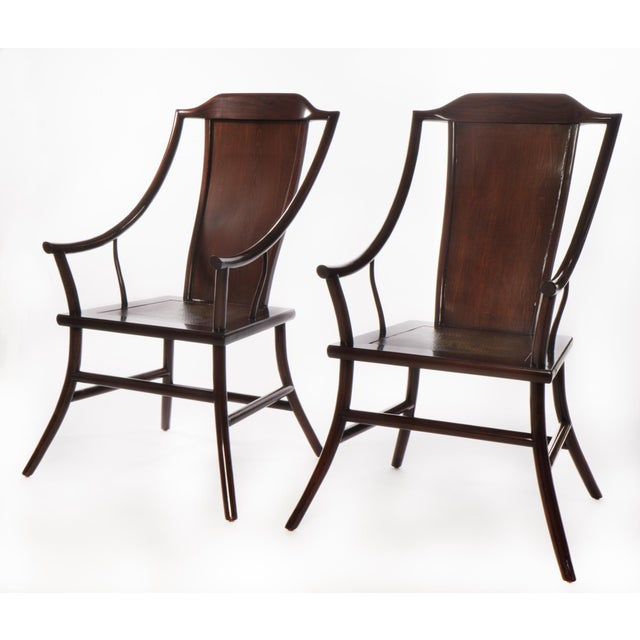 Antique Chinese Rosewood Arm Chairs - Pair - Image 3 of 3