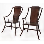 Image of Antique Chinese Rosewood Arm Chairs - Pair