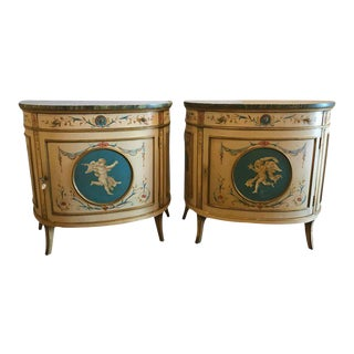 Adams Style Demilune Painted Commodes - A Pair