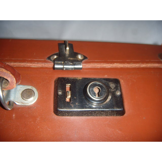 Vintage English Brown Leather Suitcase - Image 11 of 11