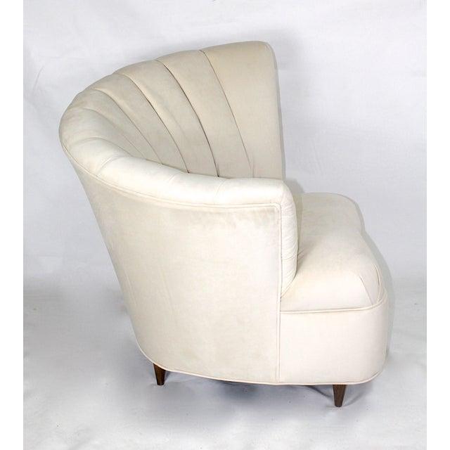 Vintage Hollywood Regency Fan Back Chair & Ottoman - Image 4 of 5