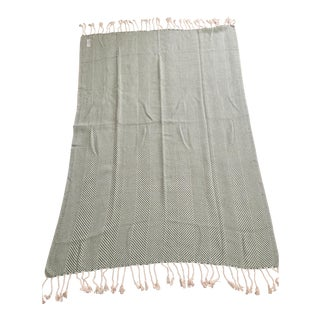 Serena & Lily Brahms Mount Green Herringbone Cotton Throw