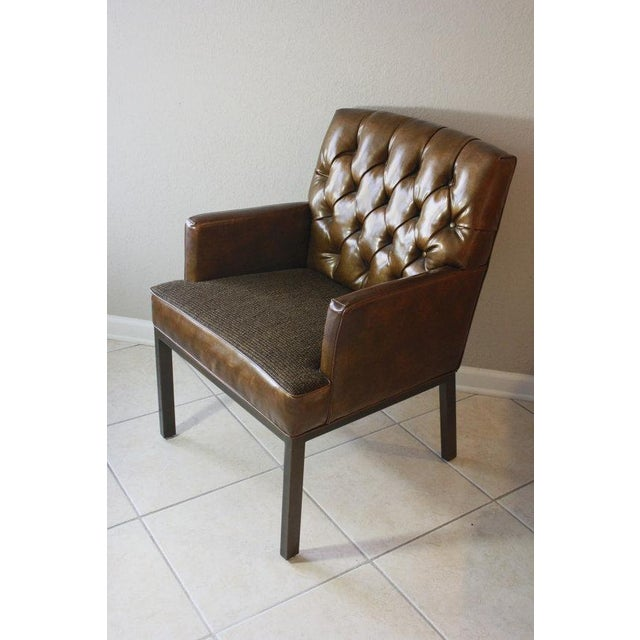 Leather & Tweed Tufted Back Armchair - Image 2 of 6