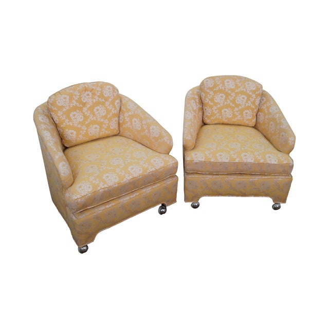 Image of Mid-Century Barrel Back Lounge Chairs - Pair
