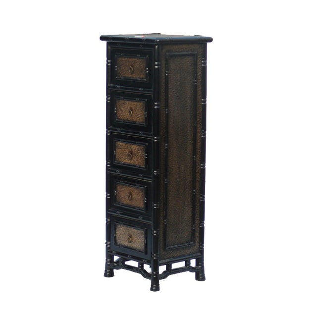 Black Rattan Bamboo 5 Drawers Chests - A Pair - Image 5 of 6