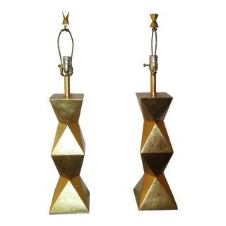 Modern Geometric Gold Table Lamps - aPair