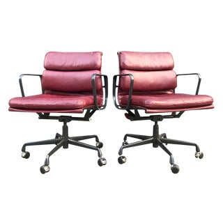 Eames for Herman Miller Red Leather Soft Pad Chairs