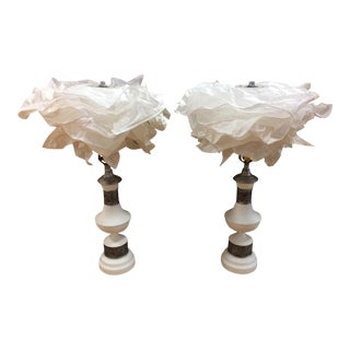 Silver & White Rose Lamps - A Pair