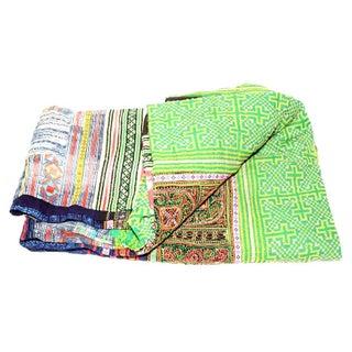 Vibrant Green & Multi Hued Hmong Blanket