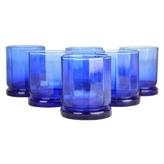 Vintage Cobalt Faceted Cocktail Glasses - Set of 6