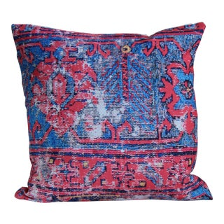 Red Distressed Turkish Rug Print Pillow -18''