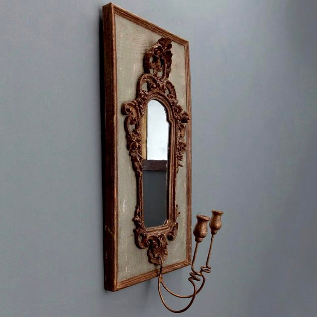 Pair 19th Century Italian Sconces With Carved Mirror and Gesso Frames - Image 5 of 10