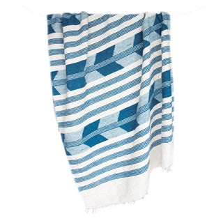 Blue & White Handwoven Chevron Throw