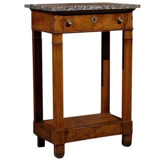 Petite French 1830s Empire Style Walnut Veneered Console Table, Grey Marble Top