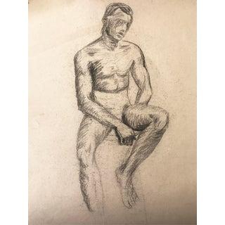 C.1950 Vintage Male Nude Pencil Drawing
