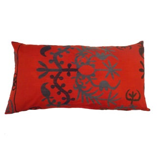 Uzbek Bridal Suzani Pillow Sham in Orange