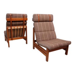 Pair of Danish Modern Safari-Style Lounge Chairs by Borge Mogensen