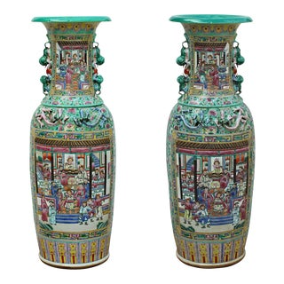 Pair Chinese Hand Made Pink Turquoise House Warfield Scenery Graphic Tall Vases