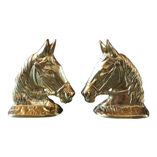 Brass Horse Head Bookends - a Pair