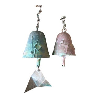 Mid Century Paolo Soleri Signed Brutalist Wind Chime Bells - A Pair