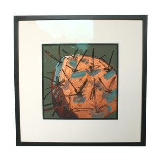 Original Mixed Media Framed Art - Copper Cactus