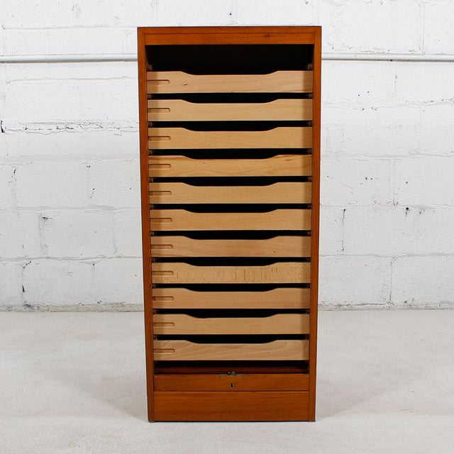 Tall Teak Locking Tambour Door Jewelry Cabinet - Image 7 of 9