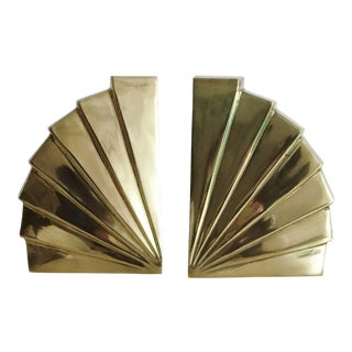 Vintage Solid Brass Art Deco Bookends - Pair