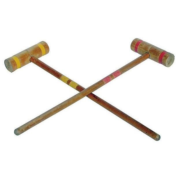 Old-School Croquet Mallets in Red & Yellow - A Pair - Image 1 of 2