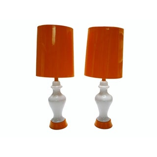 Orange and White Lamps - A Pair