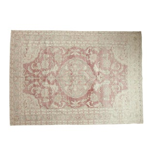 "Vintage Distressed Oushak Carpet - 6'4"" x 8'9"""
