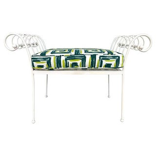 Neoclassical Style Metal Bench With Cushion