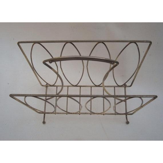 Mid Century Modern Metal Magazine Rack - Image 3 of 3