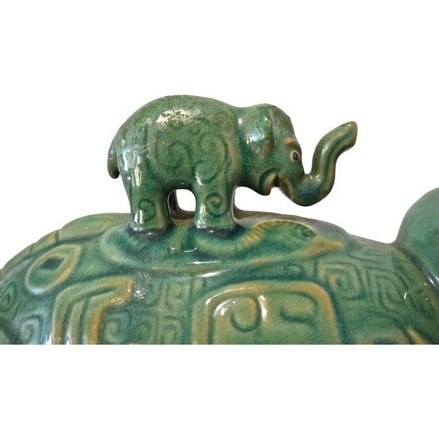 1960s Thai Drip Glaze Ceramic Elephant Chairish