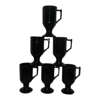 Black Milk Glass Coffee Mugs - Set of 6