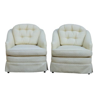 Mid Century Style Cream Club Chairs, A Pair