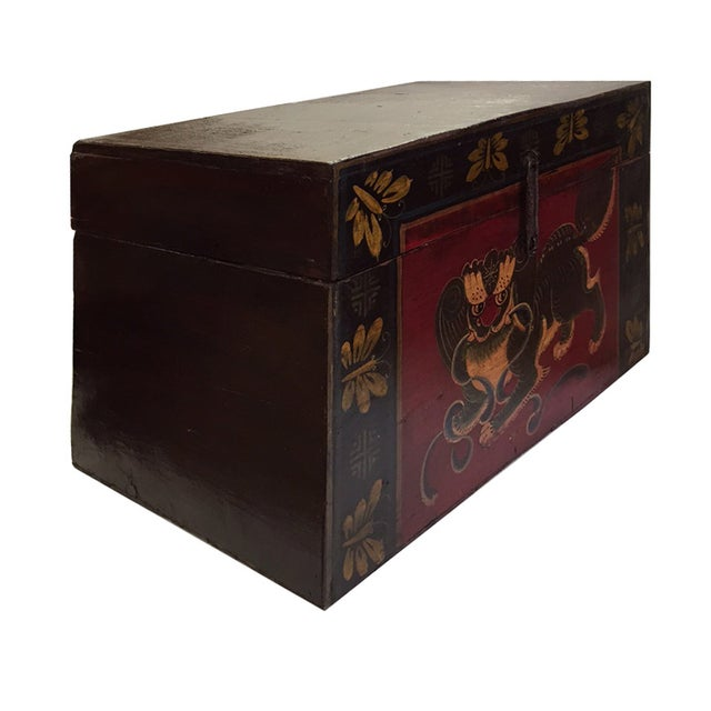 Chinese Brown Red & Gold Graphic Wood Trunk Box - Image 3 of 7